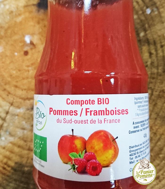 Compote de pommes framboises bio artisanale du sud-ouest